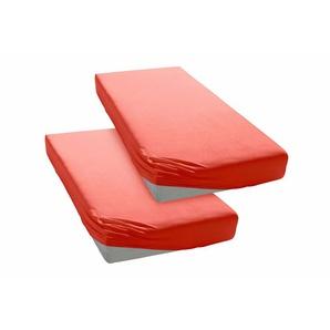 My Home Spannbettlaken »Jersey«, 2x90/200 cm, pflegeleicht, hautfreundlich, rot, aus 100% Baumwolle