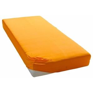 My Home Spann-Bettlaken »Microfaser«, 140/200 cm, bügelfrei, orange, aus 100% Polyester