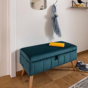 my home Truhenbank Amira, mit Staufach, in 3 Bezugsqualitäten B/H/T: 81 cm x 43 36 cm, Samtvelours blau Stühle und Sitzbänke Möbel Aufbauservice