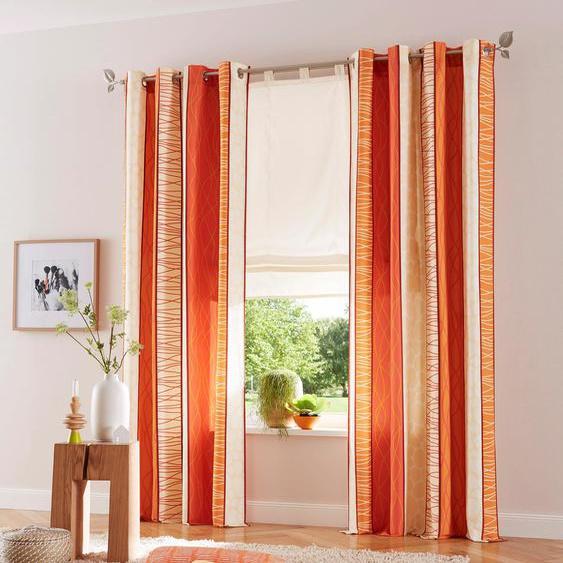 my home Vorhang Gosen, Gardine, Fertiggardine, blickdicht 145 cm, Ösen, 140 cm orange Wohnzimmergardinen Gardinen nach Räumen Vorhänge