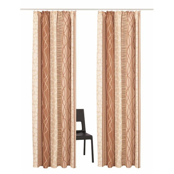 my home Vorhang Gosen, Gardine, Fertiggardine, blickdicht 175 cm, Kräuselband, 140 cm beige Wohnzimmergardinen Gardinen nach Räumen Vorhänge