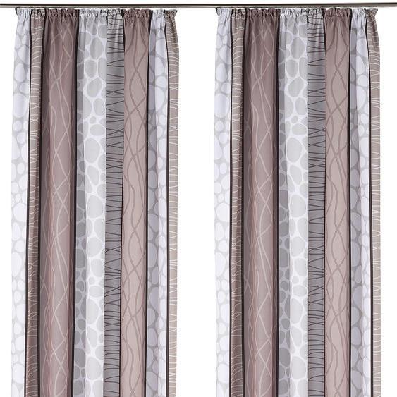my home Vorhang Gosen, Gardine, Fertiggardine, blickdicht 175 cm, Kräuselband, 140 cm grau Wohnzimmergardinen Gardinen nach Räumen Vorhänge