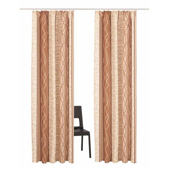 my home Vorhang Gosen, Gardine, Fertiggardine, blickdicht 225 cm, Kräuselband, 140 cm beige Wohnzimmergardinen Gardinen nach Räumen Vorhänge