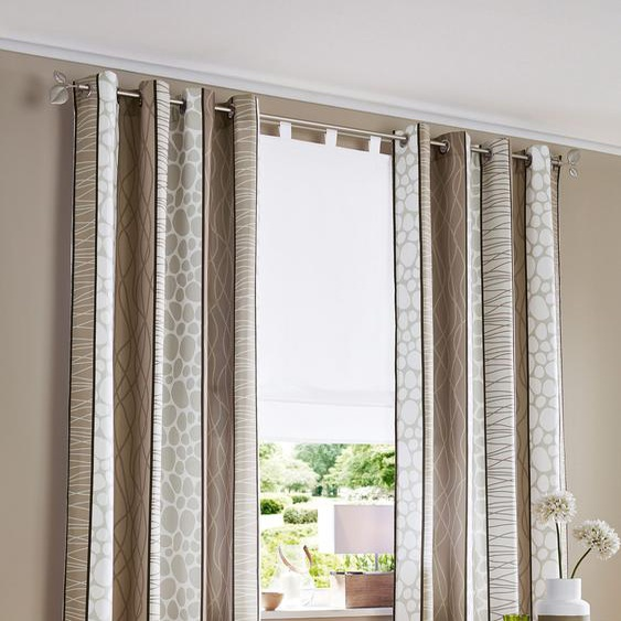 my home Vorhang Gosen, Gardine, Fertiggardine, blickdicht 245 cm, Ösen, 140 cm grau Wohnzimmergardinen Gardinen nach Räumen Vorhänge