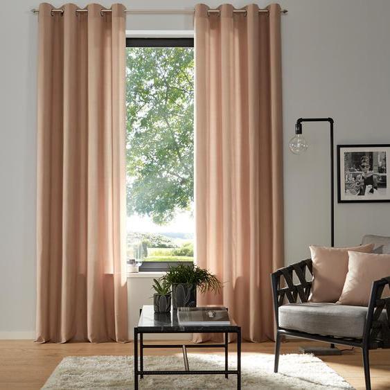 my home Vorhang Luna, Inkl. 2 Raffhaltern 145 cm, Ösen, 135 cm beige Wohnzimmergardinen Gardinen nach Räumen Vorhänge