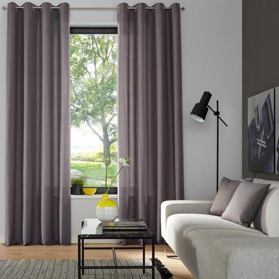 my home Vorhang Luna, Inkl. 2 Raffhaltern 145 cm, Ösen, 135 cm grau Wohnzimmergardinen Gardinen nach Räumen Vorhänge