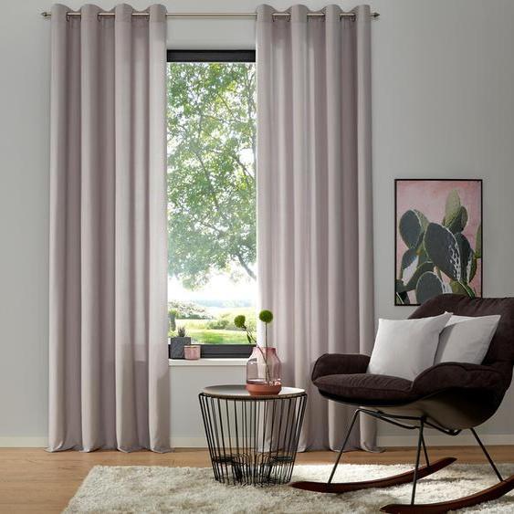 my home Vorhang Luna, Inkl. 2 Raffhaltern 175 cm, Ösen, 135 cm grau Wohnzimmergardinen Gardinen nach Räumen Vorhänge