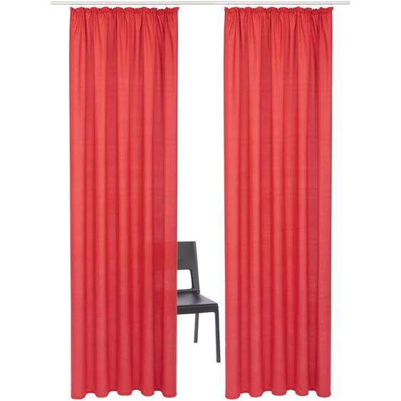 my home Vorhang Luna, Inkl. 2 Raffhaltern 295 cm, Kräuselband, 135 cm rot Wohnzimmergardinen Gardinen nach Räumen Vorhänge