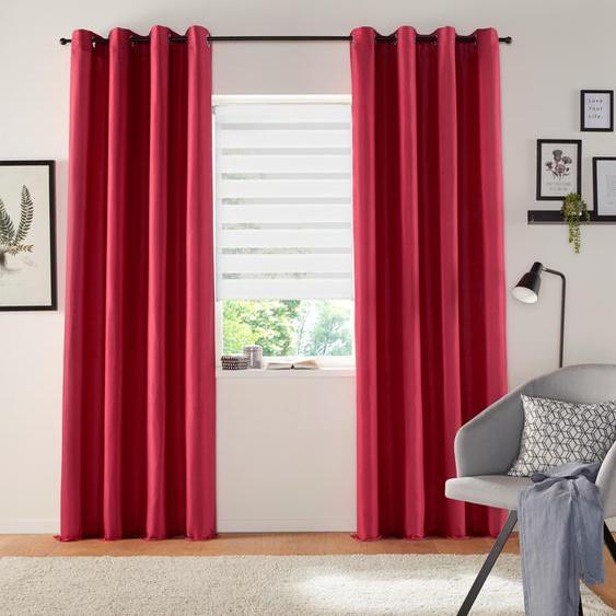 my home Vorhang Luna, Inkl. 2 Raffhaltern 295 cm, Ösen, 135 cm rot Wohnzimmergardinen Gardinen nach Räumen Vorhänge
