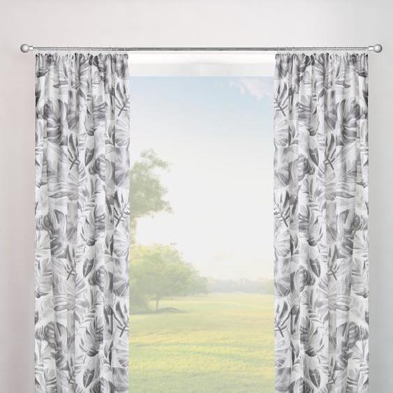 my home Vorhang Monstera 145 cm, Kräuselband, 135 cm grau Gardinen nach Räumen Vorhänge