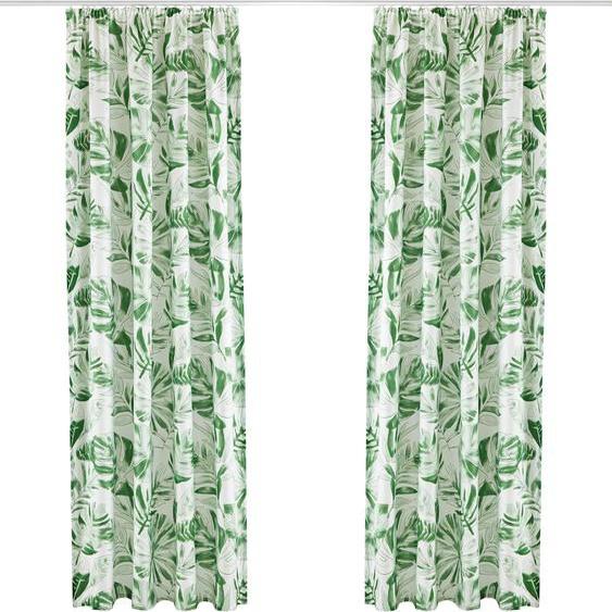 my home Vorhang Monstera 145 cm, Kräuselband, 135 cm weiß Gardinen nach Räumen Vorhänge