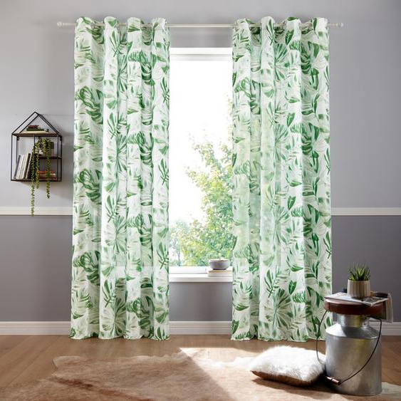my home Vorhang Monstera 175 cm, Ösen, 135 cm weiß Gardinen nach Räumen Vorhänge