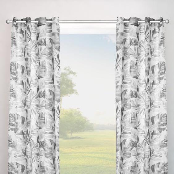 my home Vorhang Monstera 225 cm, Ösen, 135 cm grau Gardinen nach Räumen Vorhänge