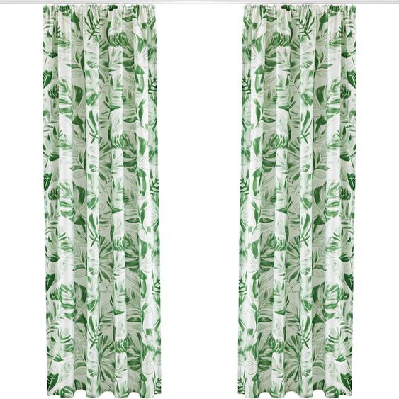my home Vorhang Monstera 295 cm, Kräuselband, 135 cm weiß Gardinen nach Räumen Vorhänge