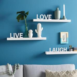 my home Wandregal »Live - Love - Laugh«, Set 3-tlg., Dekoregal, Wanddeko, mit Schriftzug