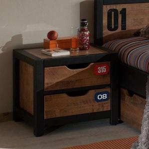 Nachttisch aus teilmassiver Kiefer und MDF »Alex«, mit Schubkästen, FSC®-zertifiziert, Vipack