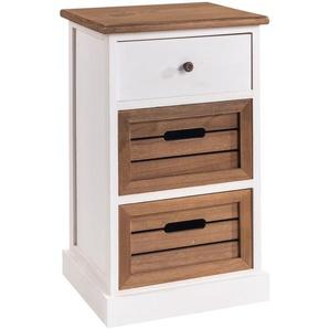 Nachtkommode CULTURA weiß mit 1 Schublade und 2 Holzkisten