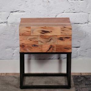 Nachtkonsole aus Akazie Massivholz und Metall 50 cm hoch (2er Set)