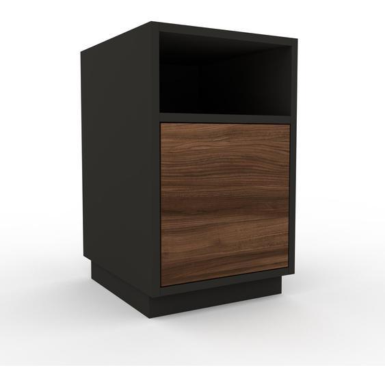 Nachtschrank Anthrazit - Eleganter Nachtschrank: Schubladen in Nussbaum - Hochwertige Materialien - 41 x 66 x 47 cm, konfigurierbar