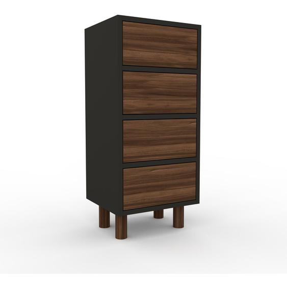 Nachtschrank Anthrazit - Eleganter Nachtschrank: Schubladen in Nussbaum - Hochwertige Materialien - 41 x 91 x 35 cm, konfigurierbar