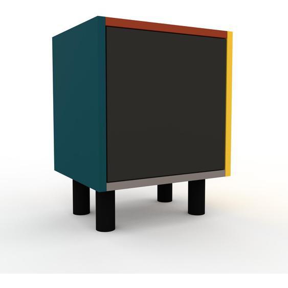 Nachtschrank Blau - Eleganter Nachtschrank: Türen in Anthrazit - Hochwertige Materialien - 41 x 53 x 35 cm, konfigurierbar