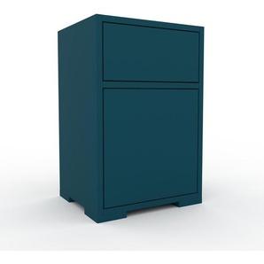 Nachtschrank Blau - Nachtschrank: Schubladen in Blau & Türen in Blau - Hochwertige Materialien - 41 x 62 x 35 cm, konfigurierbar