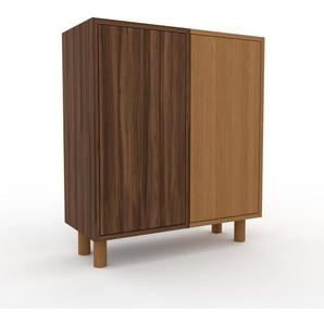 Nachtschrank Eiche - Eleganter Nachtschrank: Türen in Nussbaum - Hochwertige Materialien - 79 x 91 x 35 cm, konfigurierbar