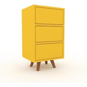 Nachtschrank Gelb - Eleganter Nachtschrank: Schubladen in Gelb - Hochwertige Materialien - 41 x 72 x 35 cm, konfigurierbar