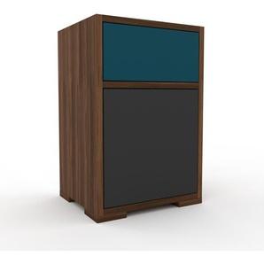 Nachtschrank Nussbaum - Nachtschrank: Schubladen in Blau & Türen in Anthrazit - Hochwertige Materialien - 41 x 62 x 35 cm, konfigurierbar