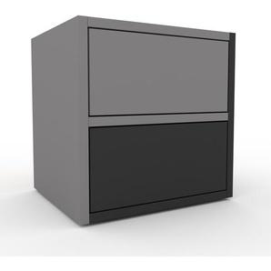 Nachtschrank Grau - Eleganter Nachtschrank: Schubladen in Anthrazit - Hochwertige Materialien - 41 x 41 x 35 cm, konfigurierbar