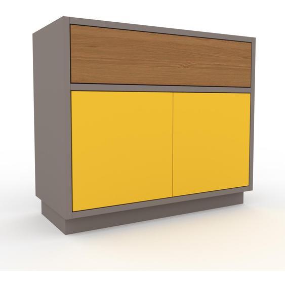 Nachtschrank Grau - Nachtschrank: Schubladen in Eiche & Türen in Gelb - Hochwertige Materialien - 77 x 66 x 35 cm, konfigurierbar
