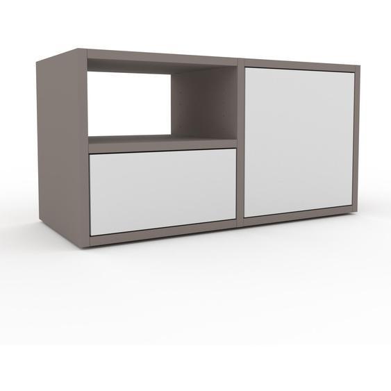 Nachtschrank Grau - Nachtschrank: Schubladen in Weiß & Türen in Weiß - Hochwertige Materialien - 79 x 41 x 35 cm, konfigurierbar