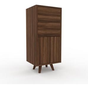 Nachtschrank Nussbaum - Nachtschrank: Schubladen in Nussbaum & Türen in Nussbaum - Hochwertige Materialien - 41 x 91 x 35 cm, konfigurierbar