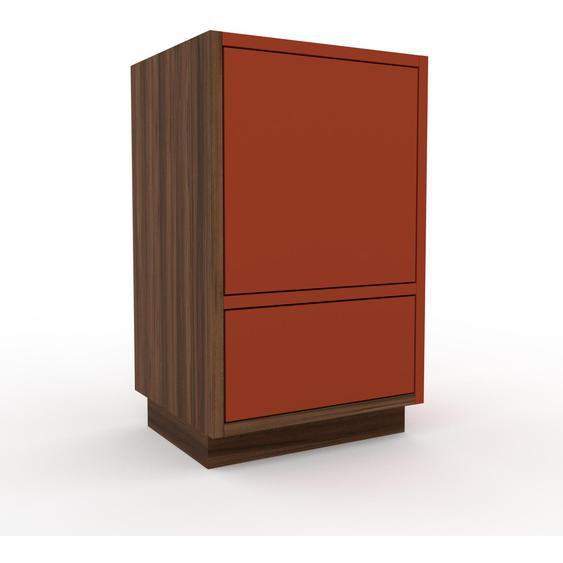 Nachtschrank Nussbaum - Nachtschrank: Schubladen in Rot & Türen in Rot - Hochwertige Materialien - 41 x 66 x 35 cm, konfigurierbar