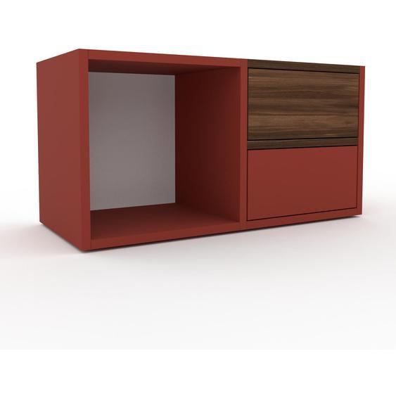 Nachtschrank Rot - Eleganter Nachtschrank: Schubladen in Rot - Hochwertige Materialien - 79 x 41 x 35 cm, konfigurierbar