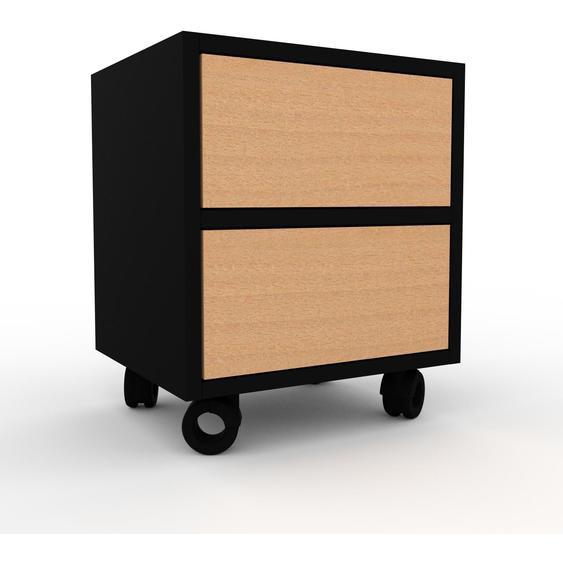 Nachtschrank Schwarz - Eleganter Nachtschrank: Schubladen in Buche - Hochwertige Materialien - 41 x 49 x 35 cm, konfigurierbar