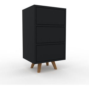 Nachtschrank Schwarz - Eleganter Nachtschrank: Schubladen in Schwarz - Hochwertige Materialien - 41 x 72 x 35 cm, konfigurierbar