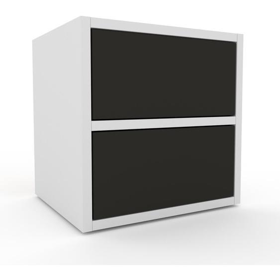 Nachtschrank Weiß - Eleganter Nachtschrank: Schubladen in Anthrazit - Hochwertige Materialien - 41 x 41 x 35 cm, konfigurierbar