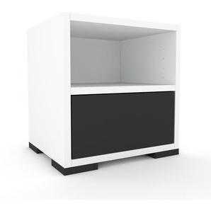 Nachtschrank Weiß - Eleganter Nachtschrank: Schubladen in Anthrazit - Hochwertige Materialien - 41 x 43 x 35 cm, konfigurierbar