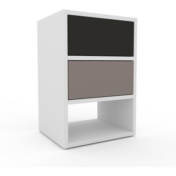 Nachtschrank Weiß - Eleganter Nachtschrank: Schubladen in Grau - Hochwertige Materialien - 41 x 61 x 35 cm, konfigurierbar