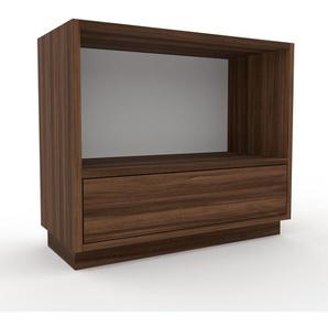 Nachtschrank Nussbaum - Eleganter Nachtschrank: Schubladen in Nussbaum - Hochwertige Materialien - 77 x 66 x 35 cm, konfigurierbar
