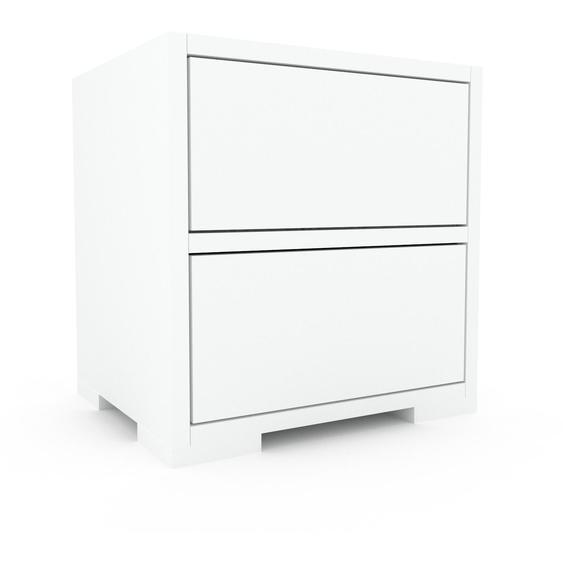 Nachtschrank Weiß - Eleganter Nachtschrank: Schubladen in Weiß - Hochwertige Materialien - 41 x 43 x 35 cm, konfigurierbar
