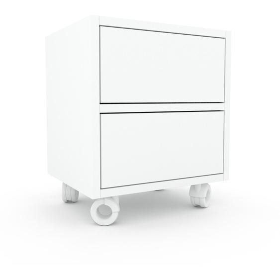 Nachtschrank Weiß - Eleganter Nachtschrank: Schubladen in Weiß - Hochwertige Materialien - 41 x 49 x 35 cm, konfigurierbar