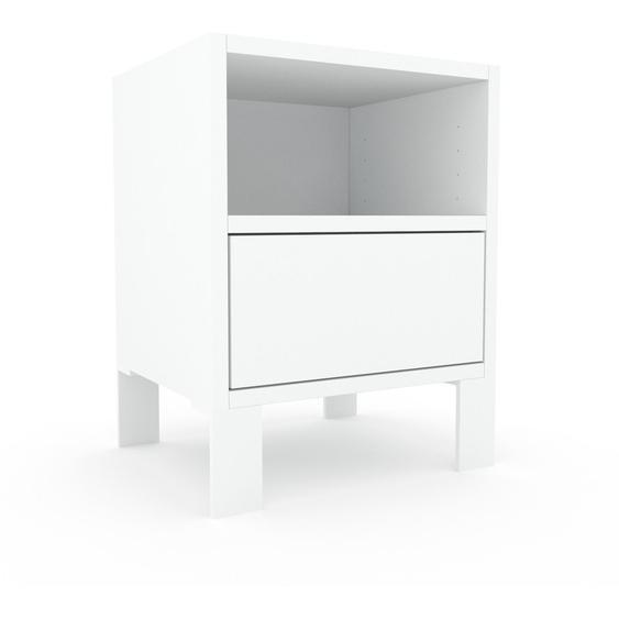 Nachtschrank Weiß - Eleganter Nachtschrank: Schubladen in Weiß - Hochwertige Materialien - 41 x 53 x 35 cm, konfigurierbar