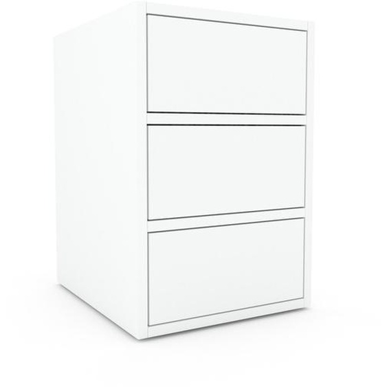 Nachtschrank Weiß - Eleganter Nachtschrank: Schubladen in Weiß - Hochwertige Materialien - 41 x 61 x 47 cm, konfigurierbar