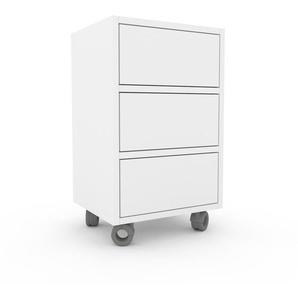 Nachtschrank Weiß - Eleganter Nachtschrank: Schubladen in Weiß - Hochwertige Materialien - 41 x 68 x 35 cm, konfigurierbar