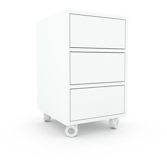 Nachtschrank Weiß - Eleganter Nachtschrank: Schubladen in Weiß - Hochwertige Materialien - 41 x 68 x 47 cm, konfigurierbar