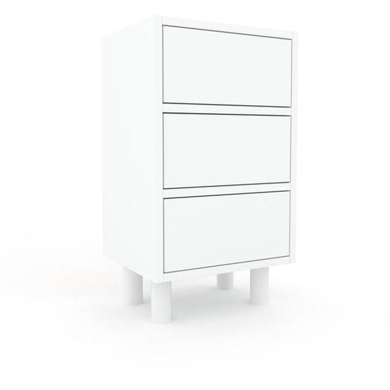 Nachtschrank Weiß - Eleganter Nachtschrank: Schubladen in Weiß - Hochwertige Materialien - 41 x 72 x 35 cm, konfigurierbar