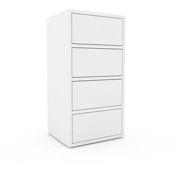 Nachtschrank Weiß - Eleganter Nachtschrank: Schubladen in Weiß - Hochwertige Materialien - 41 x 80 x 35 cm, konfigurierbar