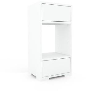 Nachtschrank Weiß - Eleganter Nachtschrank: Schubladen in Weiß - Hochwertige Materialien - 41 x 81 x 35 cm, konfigurierbar